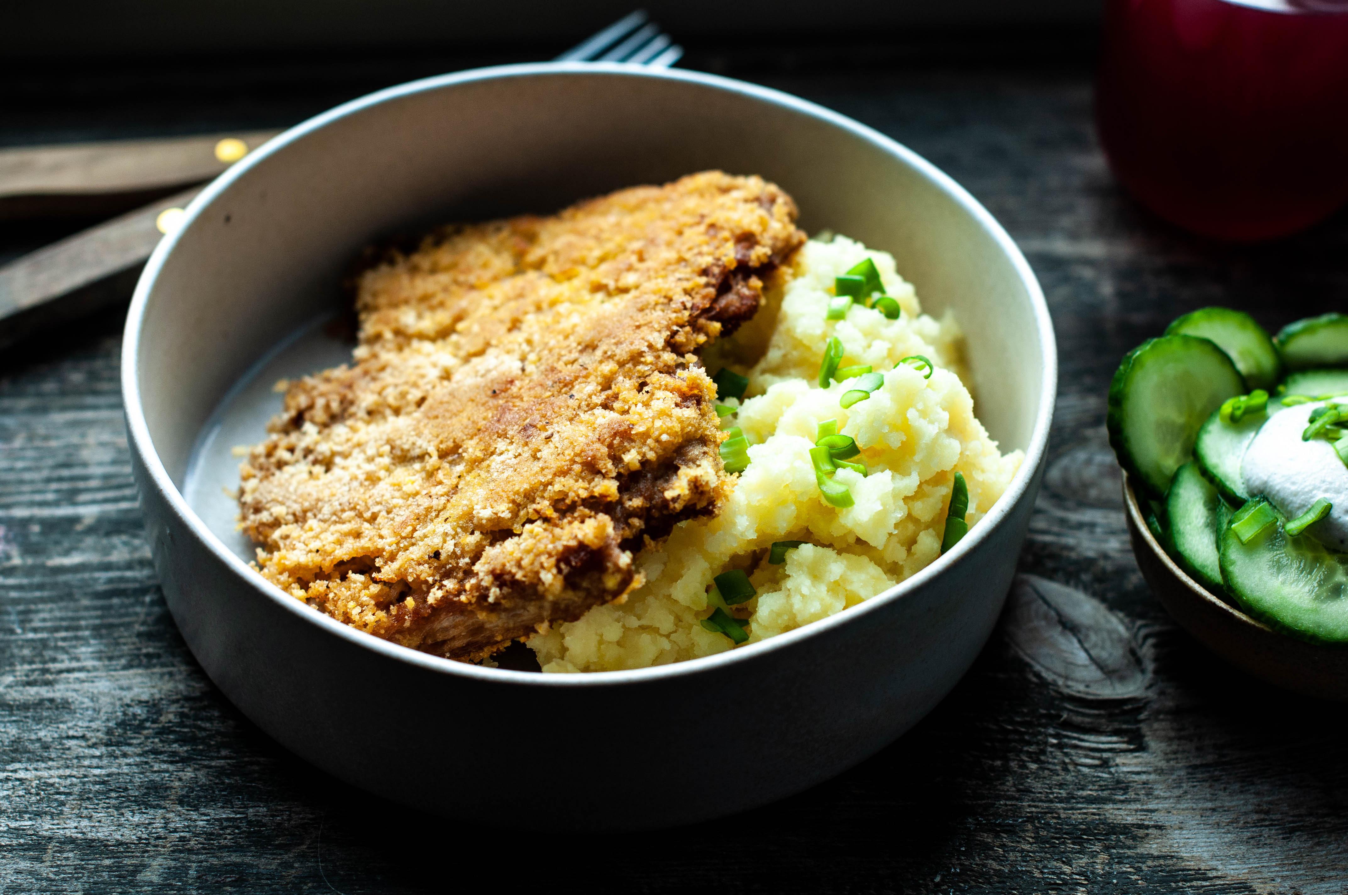 1 schabowy wegański, wegański obiad, bezglutenowy obiad, obiad, pomysł na obiad, kuchnia wegańska, kuchnia bezglutenowa
